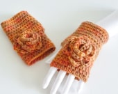 Wrist warmers -  fingerless gloves - flower -  autumn colors - orange and brown - organic wool   eco friendly crochet