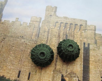 Antique Handmade Needle Lace Buttons Dark Green On Silk Satin