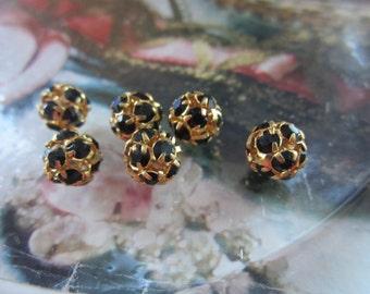 8mm Jet And Gold Rhinestone Ball Beads 6Pcs.
