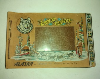 Alaska 1940's Snap Shots Album , Leather , Wolf, Native American , Totem Pole , Dog Sled , Cabin , Lodge Decor
