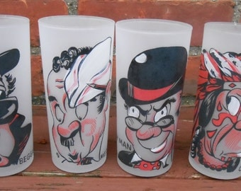 Mid Century Gay Fad Studios Occupational Frosted Tumblers