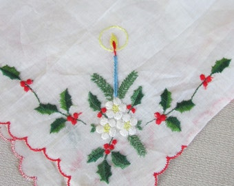 Vintage Ladies Christmas  Candle and Holly Hankie , Vintage Handkerchief, Vintage Christmas, Vintage Linens, Vintage Accessories