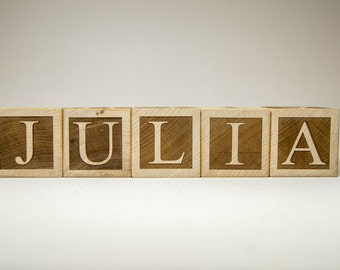 Personalized Wood Name Blocks Letter Custom Blocks for Nursery, baby shower, christmas