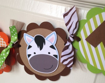Safari Birthday Party High Chair Mini Banner - Safari Party Decorations - Boy First Birthday - High Chair Garland - Jungle Party - Zoo Party