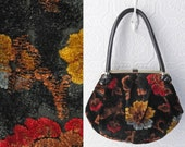 Carpet Bag Purse, Black Floral Tapestry Handbag, Medium Purse, Black, Red, Gold and Blue, Black Vinyl Handles, Brass Accents, Vintage 1960's