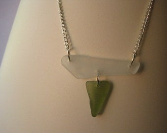 Geometric White and Green Sea Glass Necklace