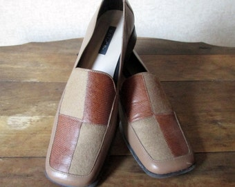 Loafers Chunky Heels square toes slip ons tan brown leather patchwork wool fabric hipster shoes secretary librarian vintage 90s women 8 B