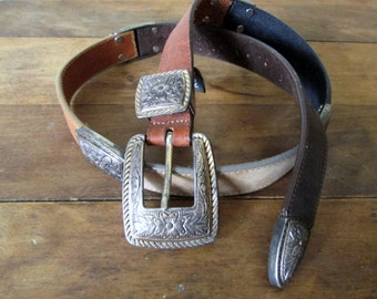 Leather Belt Brighton concho belt silver gold buckle vintage 90s brown tan boho hipster southwestern belt equestrian belt women medium