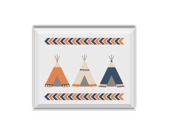 Teepee, Tribal Nursery Art Boy, Teepee Art, Tee Pee, Tribal Decor, Tribal Children's Room Art, Teepee, Chevron, Blue, Orange, Tribal, Boy