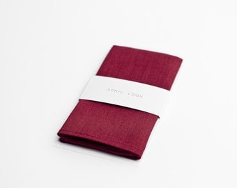 Pocket square in vivid burgundy
