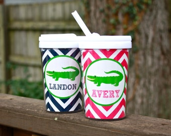 Personalized Alligator Sippy Cup with Straw