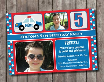 Personalized Police Themed Party Invitations