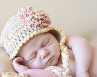 Crocheted Girl's earflap flower hat, made to order, infant, baby, toddler, adult, made to order