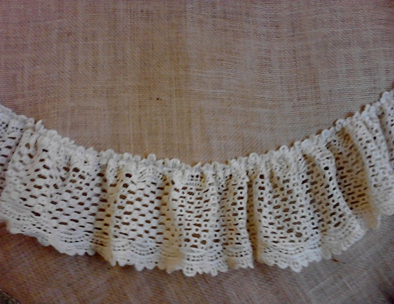 Burlap Christmas Tree Skirt 60 With Ivory Cluny Lace 5