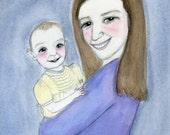Custom Family Portrait Painting, Mother and Child Portrait, Hand Painted Watercolor Portrait Commissioned Painting
