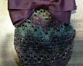 Burgundy Grosgrain Hair Bow with Multicolored Net Snood