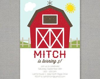 Barn Farm Birthday Party Invitation