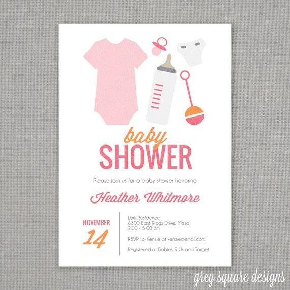 baby essentials baby shower invitation
