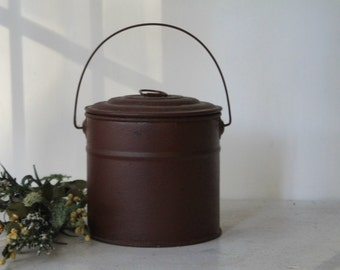 Vintage Red Tin Bucket