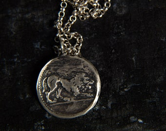 Lion Pendant Necklace-Sterling Silver Lion Head Pendant-Ancient Greek Coin Pendant-Replica Coin Necklace-Lion Jewellery