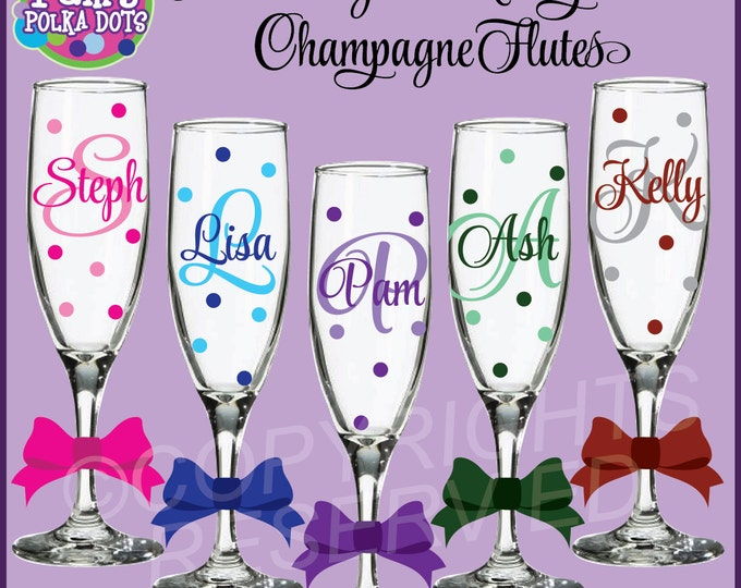 5 Personalized MONOGRAMMED CHAMPAGNE FLUTES Initial Monogram Polka Dots Bride Bridesmaid Bachelorette Wedding New Years Birthday  Party