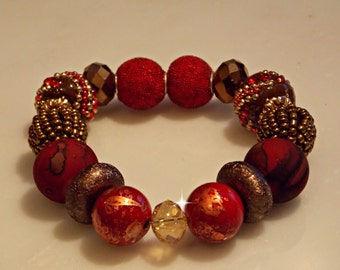 Burgundy and Brown Stretch Bracelet with Large Beads, Red, Friendship Bracelet, Gift