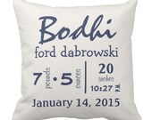"Custom Throw Pillow - Baby Name and Birth Stats - Navy and Gray WHALE Personalized Baby Pillow- 16"" X 16"""