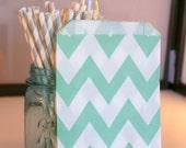 Mint chevron candy bags, light green chevron treat bags, Mint green wedding candy buffet bags, popcorn bags in mint green