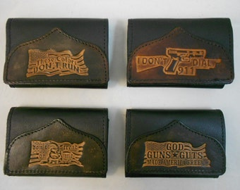 Hand-Crafted Patriotic Leather Tri-fold Wallet, Dont Tread on Me, I Dont Dial 911, These Colors Dont Run