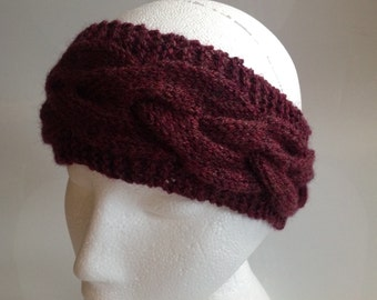 Half Price! Ladies Mulberry Cable Knit Ear Warmer Headband Hand Knitted in Scotland