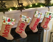 Personalized BURLAP CHRISTMAS STOCKING ... Personalized Christmas Stocking ... Personalized Holiday Stocking ... Customized Stocking