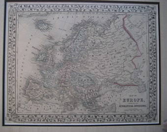 Antique Map of Europe, 1875, Framed And Ready For Hanging,