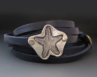 Fine Silver Starfish - Sea Star Wrap Bracelet - READY TO SHIP!