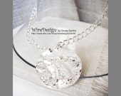 Silver disc Necklace with chain - Silver plated