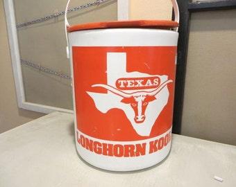 Texas Longhorns University of Texas Bevo the Steer College Football Cooler Vintage Cooler Orange and White Hook Em Horns Gift for Him