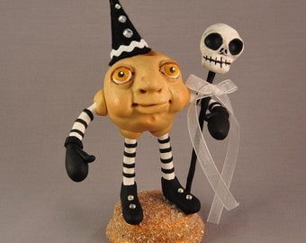 Polymer Clay Moon Figurine with Skull