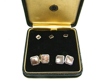Vintage Park Roger Men's 14K gold Abalone Stone Cufflinks And Studs
