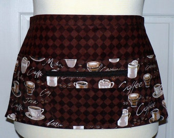 Lotsa Pockets Apron, Waitress- Vendor- Teacher Apron with Zipper Pocket - Coffee Time Barista Fabrics, made-to-order in 2 sizes