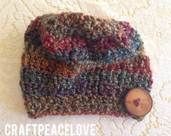 Adult Size Colorful Slouchy Beanie With Wood Button