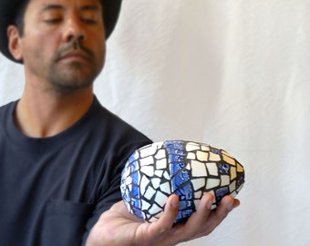 Blue and White Mosaic egg, picassiette sculpture, faceted form