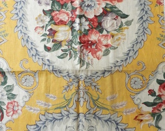 Vintage Drapery Salesman Sample Linen Blend Florals Drapery Home Decor Yellow Fabric