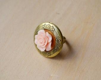 Pink Rose Bronze Locket Ring