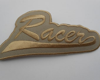 "Iron on Embroidered Applique Patch Beige ""Racer"""