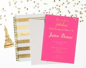 Bridal Party Invitation - Gold Foil on Pink (Set of 12)