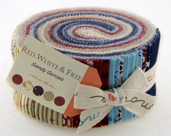 Red White Free jelly roll by Sandy Grevais for Moda fabric