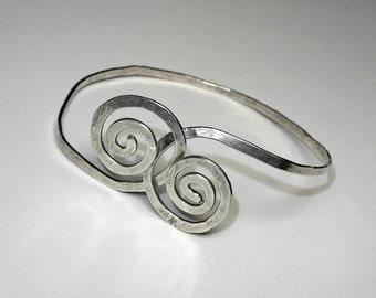 Hammered Sterling Silver Spiral Bracelet