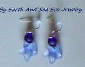 Sea Glass Recycled Sea Blue Starfish Silver Sea Glass Earrings