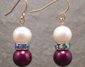 Colorful Freshwater Pearl Earrings with Rhinestone Accent
