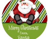 Christmas Gift Sticker, Personalized Santa Gift Tag, Christmas Gift Tags, Xmas Stickers, Goodie Bag Tags, Envelope Seals (273)