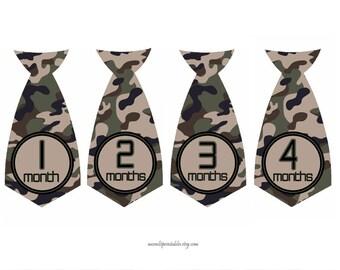 Camo Monthly Necktie Stickers, Camouflage Month Stickers, Nursery Decor, Military Photo Prop Stickers, Bodysuit Stickers (216)